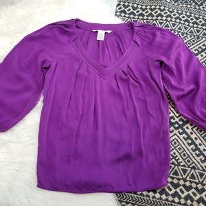 •Diane Von Furstenberg• Silk Purple Blouse Top